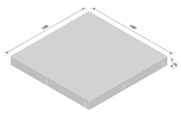 Betonplatte 10cm stark - Rastermaße 100/100cm